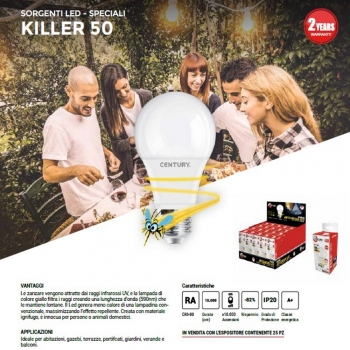 LAMPADINA KILLER 50 ANTI ZANZARE INTELLIGENTE E27 DA 9W LUNGHEZZA D'ONDA 590NM