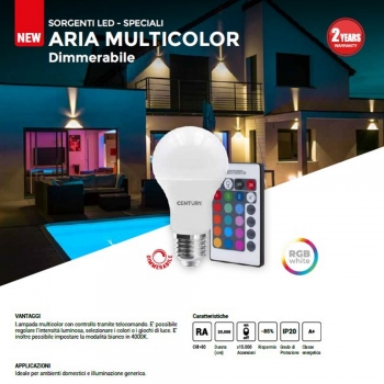 LAMPADINA LED INTELLIGENTE DIMMERABILE E27 9W RGB + 4000K NATURALE