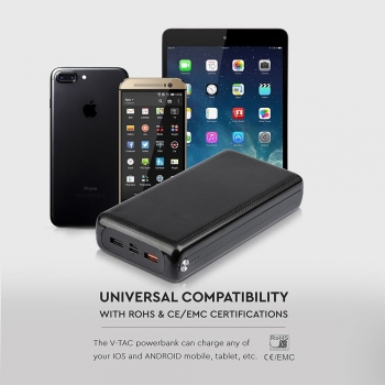 POWER BANK JUMBO 30.000 MAH CON 2 USB CON CAVO MICRO USB COLORE NERO