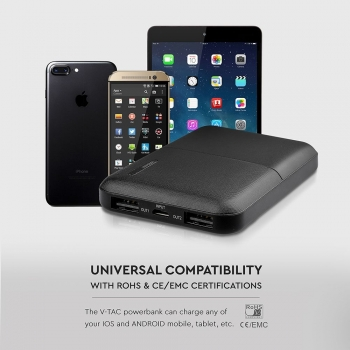 POWER BANK 5.000 MAH SUPER COMPATTO COLORE NERO