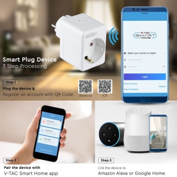 PRESA CON SPINA A SHUKO WIFI 10A 2P + SHUKO USB E INTERRUTTORE COMPATIBILE CON GOOGLE HOME E AMAZON ALEXA