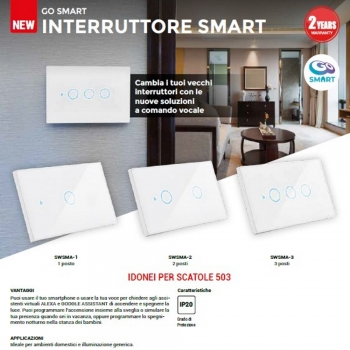 PLACCHETTA CENTURY INTERRUTTORE DOMOTICA TOUCH-SCREEN WIFI-APP INCASSO 503