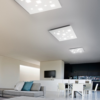 PLAFONIERA PERENZ SQUARED LED MODERNA BIANCO OPACO VARIE MISURE LUCE CALDA O NATURALE